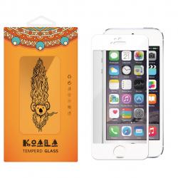 محافظ صفحه نمایش شیشه ای کوالا مدل Full Cover مناسب برای گوشی موبایل اپل آیفون5/5S/SE (نقره ای)