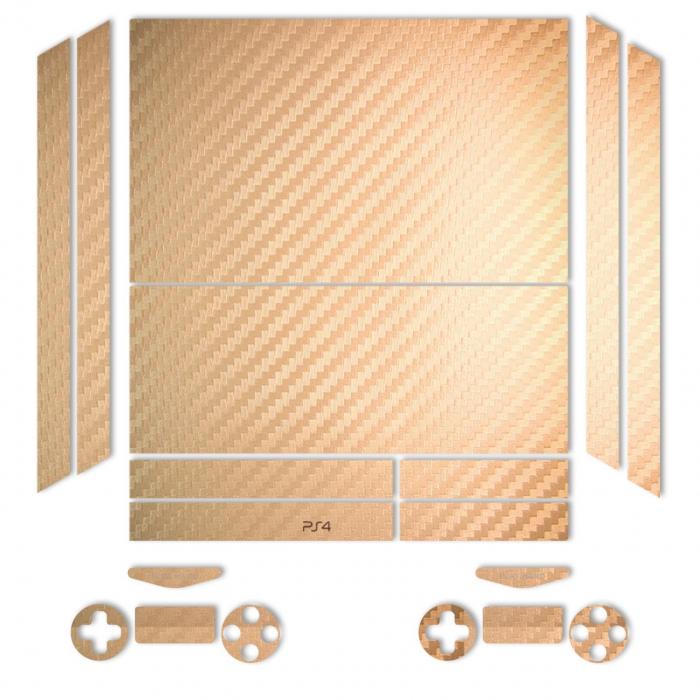 برچسب ماهوت مدلGold Carbon-fiber Texture مناسب برای کنسول بازی PS4 (طلایی)