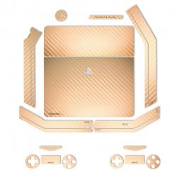 برچسب ماهوت مدلGold Carbon-fiber Texture  مناسب برای کنسول بازی PS4 Slim