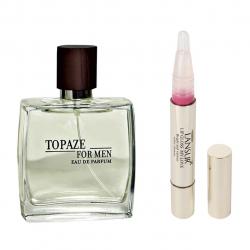 ادو پرفیوم مردانه استاویتا مدل Topaze حجم 100 میلی لیتر  به همراه  لاک لب لنسور سری My Love شماره 02 (بی رنگ)