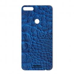 برچسب تزئینی ماهوت مدل Crocodile Leather مناسب برای گوشی  Huawei Y7 Prime 2018 (آبی)