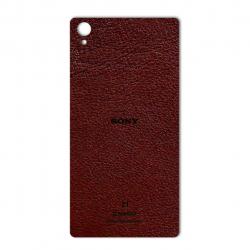 برچسب تزئینی ماهوت مدلNatural Leather مناسب برای گوشی  Sony Xperia Z1 (قهوه ای تیره)