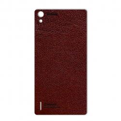 برچسب تزئینی ماهوت مدلNatural Leather مناسب برای گوشی  Huawei Ascend P7 (قهوه ای تیره)