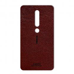 برچسب تزئینی ماهوت مدلNatural Leather مناسب برای گوشی  Nokia 6/1 (قهوه ای تیره)