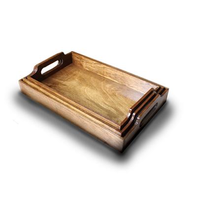 ست 3 عددی سینی چوبی بلوط آرت (قهوه ای)