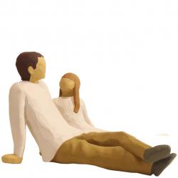مجسمه امین کامپوزیت مدل پدرودختر کد12/1 (کرم)