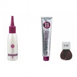پک 2 عددی استاویتا طرح 89 شامل رنگ موی بریول مدل قهوه ای روشن شماره 5.66 و محلول تقویت کننده مو بریول مدل Wunschgenau