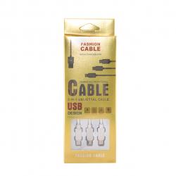 کابل تبدیل USB به microUSB و USB-C و لایتنینگ یونیفا مدل Three IN One طول 120 سانتی متر