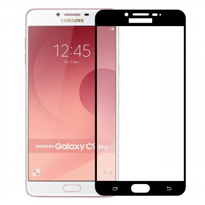 محافظ صفحه نمایش شیشه ای تمپرد مدل Full Cover مناسب برای گوشی موبایل سامسونگ Galaxy C9 Pro (مشکی)