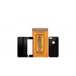 محافظ صفحه نمایش شیشه ای Full Cover و پشت شیشه ای Full Cover کوالا مناسب برای گوشی موبایل اپل آیفون 7 پلاس (مشکی براق)