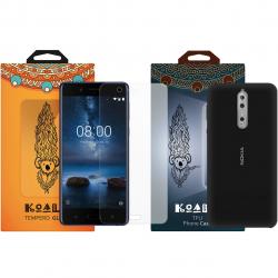 کاور کوالا مدل سیلیکونی مناسب برای گوشی موبایل نوکیا 8 به همراه محافظ صفحه نمایش (صورتی)