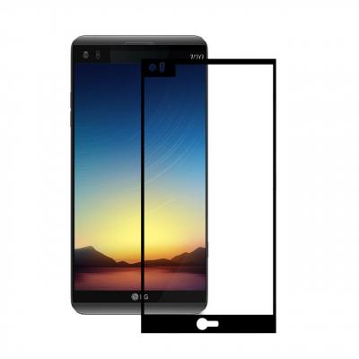 محافظ صفحه نمایش شیشه ای تمپرد مدل Full Cover مناسب برای گوشی موبایل ال جی V20 (مشکی)