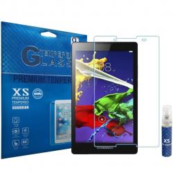 محافظ صفحه نمایش شیشه ای ایکس اس مدل تمپرد مناسب برای تبلت لنوو Tab 2 A8-50 به همراه اسپری پاک کننده صفحه XS