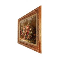 تابلو فرش چله ابریشم گالری مثالین کد 25019 طرح گل داوودی