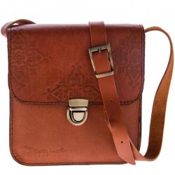 کیف دوشی چرم طبیعی گالری چیستا مدل تک قفل طرح اسلیمی (قهوه ای روشن)