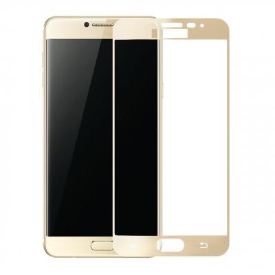 محافظ صفحه نمایش شیشه ای تمپرد مدل Full Cover مناسب برای گوشی موبایل سامسونگ Galaxy C7 (طلایی)
