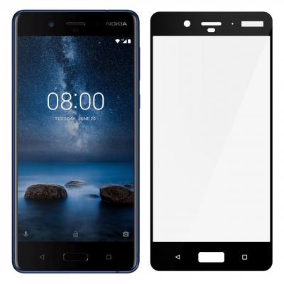محافظ صفحه نمایش شیشه ای تمپرد مدل Full Cover مناسب برای گوشی موبایل  نوکیا 8 (مشکی)
