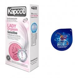 کاندوم نازک مدل بلیسر کدکس به همراه کاندوم کاپوت مدل Lady Orgasm بسته 12 عددی