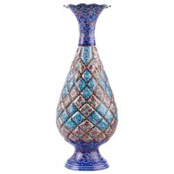 گلدان مسی میناکاری اثر ابوالقاسمی کد170048 (آبی)
