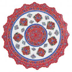 بشقاب مسی میناکاری اثر  ابوالقاسمی کد 170106 (قرمز)