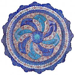 بشقاب مسی میناکاری اثر ابوالقاسمی کد170089 (آبی)
