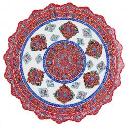 بشقاب مسی میناکاری اثر ابوالقاسمی کد170107 (قرمز)