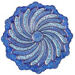 بشقاب مسی میناکاری اثر ابوالقاسمی کد 170094 (آبی)