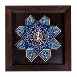 ساعت دیواری گالری نگارین طرح کاشی هفت رنگ کد 80011 (قهوه ای)