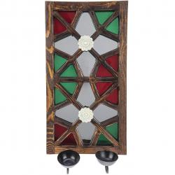 جا شمعی دیواری گالری اسعدی مدل آینه دار طرح دو گل کد 66041 (قهوه ای)