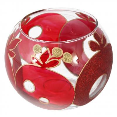 جا شمعی شیشه ای گوی گالری انار مدل 134107 طرح انار (قرمز)