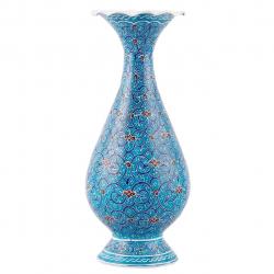 گلدان مسی میناکاری اثر ابوالقاسمی کد 170057 (آبی)