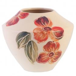 گلدان سرامیکی گالری فرتاش کد 171069 طرح گل صورتی (بی رنگ)