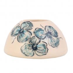 گلدان سفالی حوض گالری فرتاش طرح گل آبی کد171029 (بی رنگ)