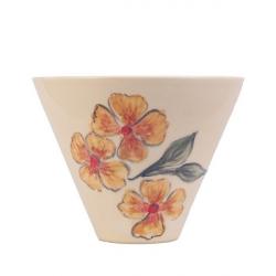 کاسه نیشابور گالری فرتاش طرح گل نارنجی قطر 18کد 171013 (بی رنگ)