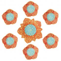 مجموعه ظروف هفت سین سفالی گالری آسوریک کد 86102 (قرمز آجری)