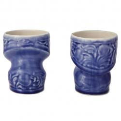 لیوان سرامیکی آبی گالری وریس طرح انار مجموعه دو عددی (بی رنگ)