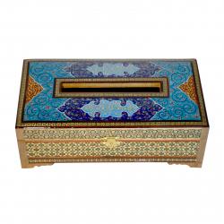 جعبه دستمال کاغذی خاتم و مینیاتور شیراز خاتم مدل لولا دار(چند رنگ)