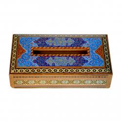 جعبه دستمال کاغذی خاتم و مینیاتور شیراز خاتم مدل بغل صاف (چند رنگ)