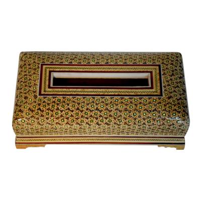 جعبه دستمال کاغذی خاتم شیراز خاتم مدل بغل کاس (قهوه ای)