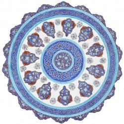 بشقاب مسی میناکاری اثر ابوالقاسمی طرح ترنج کد 170182 (آبی)