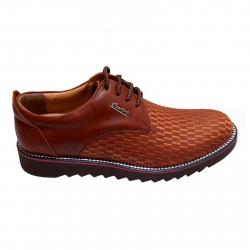کفش مردانه چرم طبیعی طرح دار کامفورت مدل 002 سایز 40 (قهوه ای)