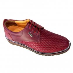 کفش مردانه چرم طبیعی طرح دار کامفورت مدل 003 سایز 41 (زرشکی)