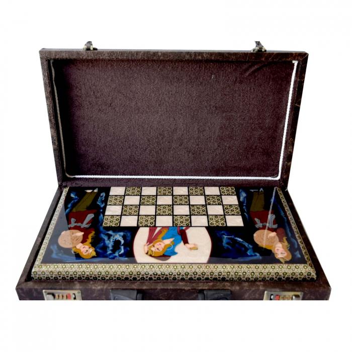 تخته نرد و شطرنج مینیاتور شیراز خاتم مدل لبه گرد کد 03