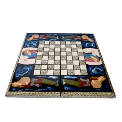 تخته نرد و شطرنج مینیاتور شیراز خاتم مدل لبه گرد کد 03 (چند رنگ)