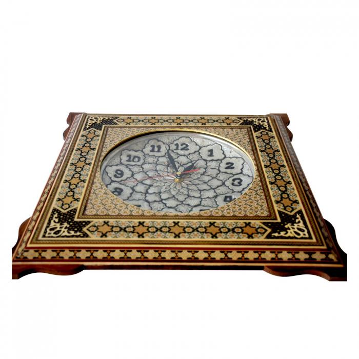 ساعت چهار گوش شیراز خاتم پلاک مس سایز 30 × 30 کد 01