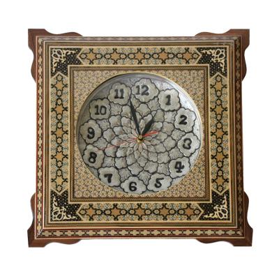 ساعت چهار گوش شیراز خاتم پلاک مس سایز 30 × 30 کد 01 (چند رنگ)