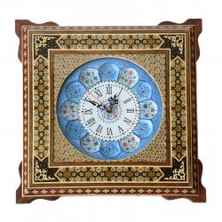 ساعت چهار گوش شیراز خاتم پلاک مینا کاری مدل 30 × 30 کد 02 (چند رنگ)