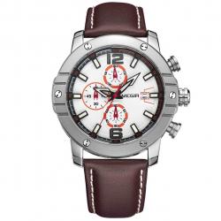 ساعت مچی عقربه ای مردانه مگیر مدل ML2046GGR7N8 (سفید - قهوه ای)
