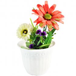 گلدان به همراه گل مصنوعی مدل 09050174 (قرمز)