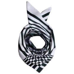 روسری ساتن ابریشم طرح شطرنجی (کرم)